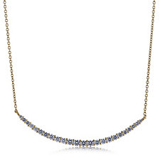 Diamonique 1.3ct tw Graduated ID Bar 45cm Necklace Sterling Silver