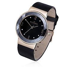 Skagen Ladies Black Dial Leather Strap Watch