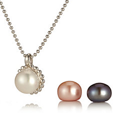 Honora 10-11mm Pearl Magnetic Pendant & 45cm Chain Sterling Silver