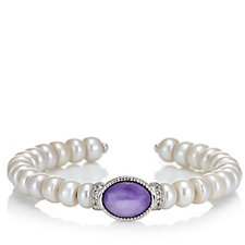 Honora 8-8.5mm Pearl & Gem Cuff Bangle Sterling Silver