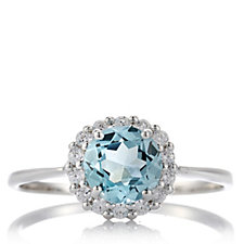 Platinum Plated Diamonique 1.6ct tw Blue Green Ring Sterling Silver