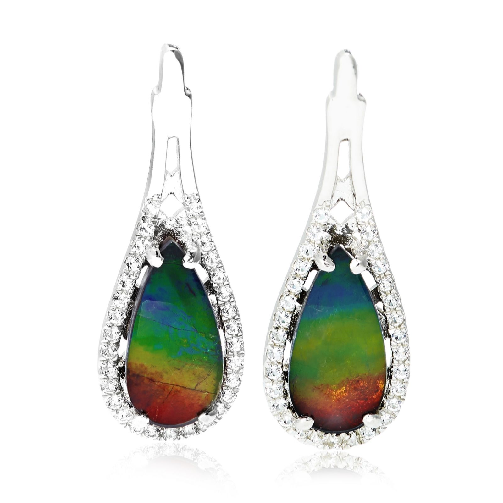 Canadian Ammolite & White Topaz Teardrop Earrings Sterling Silver