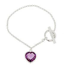 Diamonique 10.5ct tw Heart Charm Bracelet Sterling Silver