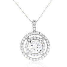 Diamonique 1.58ct tw Pendant & Chain Sterling Silver