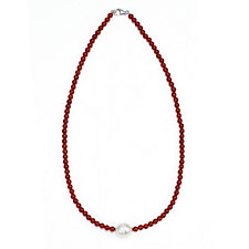 Honora 11.5-12.5mm Cultured Pearl Red Chalcedony 44cm Necklace Sterling Silver