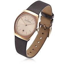 Skagen Ladies Crystal Grey Leather Strap Watch