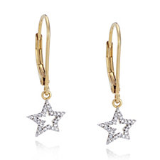 Lisa Snowdon Diamond Starburst Leverback Earrings Gold Vermeil Sterling Silver