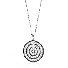 Diamonique 5.9ct tw Circle Disc Pendant & Chain Sterling Silver