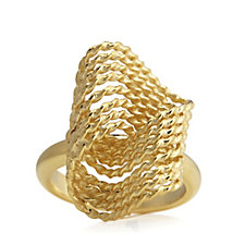 Veronese Wave Ring Sterling Silver Gold Plated