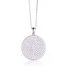 Diamonique 1.7ct tw Pave Disc Pendant & 45cm Chain Sterling Silver