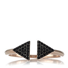 Lisa Snowdon Black Spinel Nearly There Ring Rose Gold Plated Sterling Silver