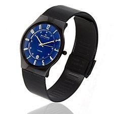 Skagen Gent's Titanium Deep Blue Dial Mesh Strap Watch