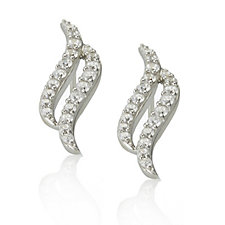 Diamonique 0.8ct tw Double Swirl Stud Earrings Sterling Silver