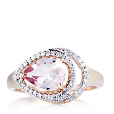 664334 - 1.50ct Morganite & Diamond Peacock Ring 9ct Gold