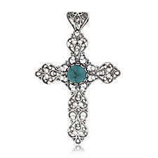 Ottoman Filigree Turquoise Cross Pendant Sterling Silver