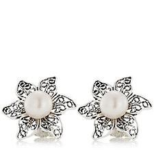 Ottoman Filigree Flower Pearl Stud Earrings Sterling Silver
