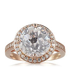 Diamonique 5.4ct tw Firework Cut Ring Rose Gold Plated Sterling Silver