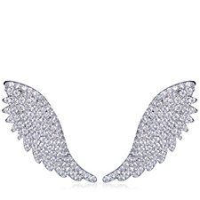 Diamonique by Andrea McLean 0.8ct tw Angel Wing Ear Climbers Sterling Silver