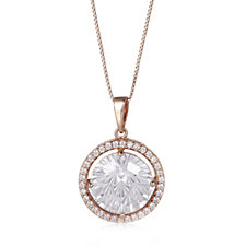 Diamonique 6ct tw Firework Pendant & Chain Rose Gold Plated Sterling Silver