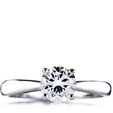 Diamonique 1.5ct tw Tapered Brilliant Solitaire Ring Sterling Silver