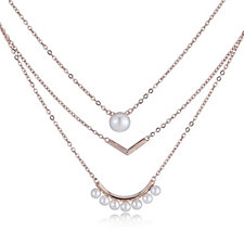 Honora Cultured Pearl 3 Row Layered 48cm Necklace Bronze