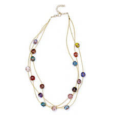 Murano Glass 3 Strand 45cm Necklace with 5cm Extender Sterling Silver