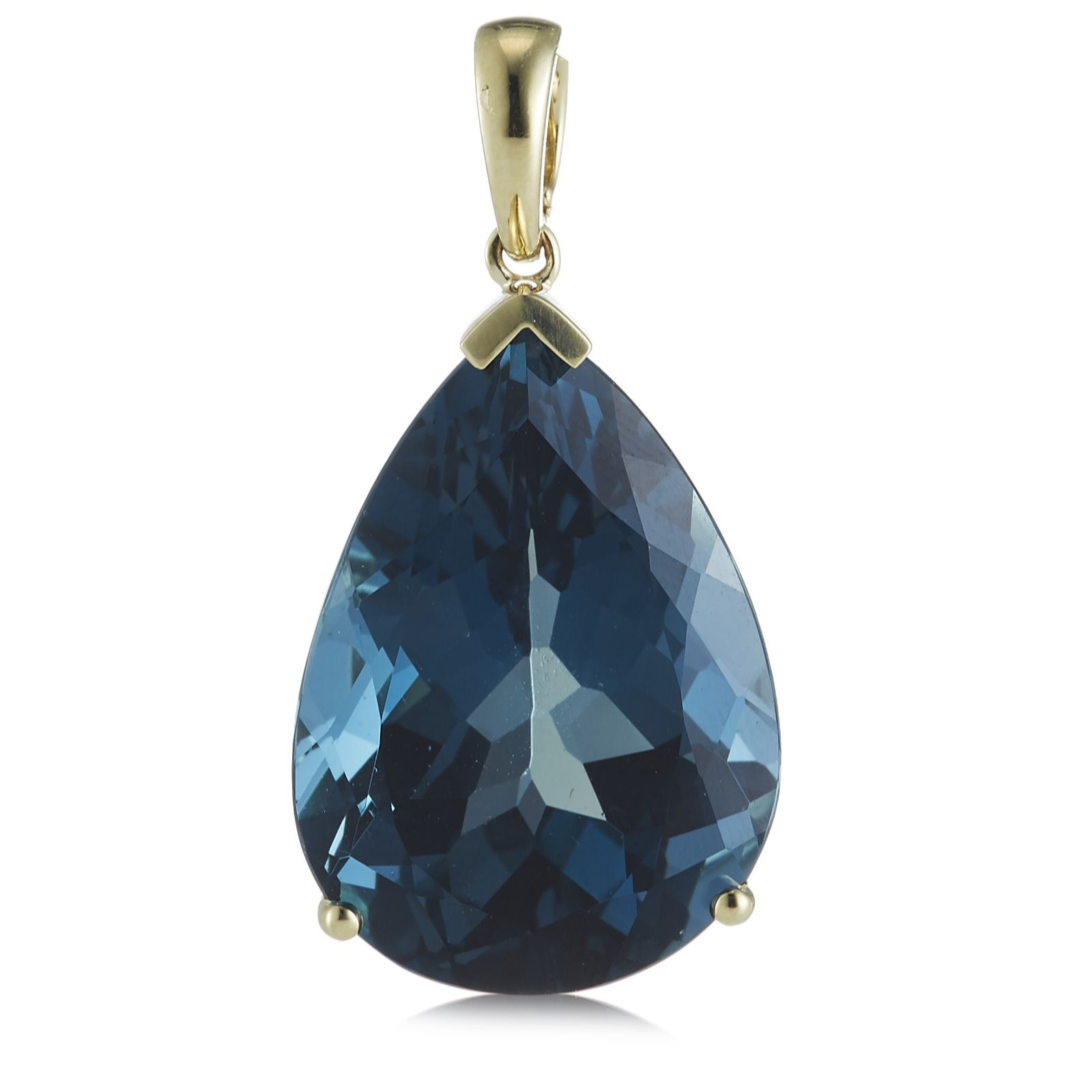 32ct Itinga London Blue Topaz Pear Pendant 9ct Gold