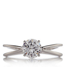 Diamonique 1.5ct tw Round Solitaire Split Band Ring Sterling Silver