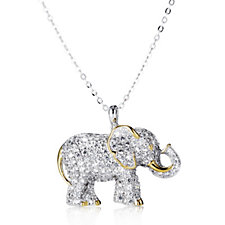 Diamonique by Tova 3ct tw Elephant Pendant & Chain Sterling Silver