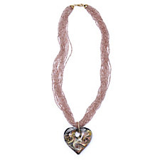 Murano Glass Heart Pendant & 12 Strand Necklace Sterling Silver