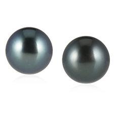 9mm  Cultured Tahitian South Sea Pearl Stud Earrings Sterling Silver