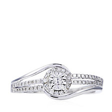 0.1ct Diamond Solitaire Style Miracle Set Ring 9ct White Gold