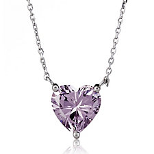 Diamonique 4ct Breast Cancer Care Heart Pendant & 45cm Chain Sterling Silver