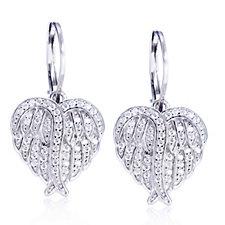 Diamonique 0.5ct tw Angel Wing Heart Leverback Earrings Sterling Silver