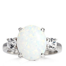 Diamonique 3ct tw Simulated Opal 3 Stone Ring Sterling Silver