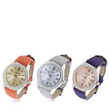 Gossip Set of 3 Crystal Bezel Faux Leather Strap Watch