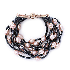 Honora Cultured Pearl Hematite Multi Row 18cm Bracelet Bronze