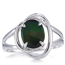 Canadian Ammolite Triplet Oval Ring Sterling Silver