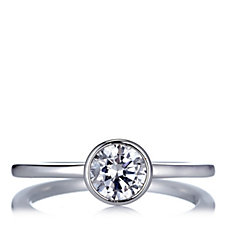 Epiphany Platinum Clad Diamonique 1ct tw Solitaire Ring Sterling Silver