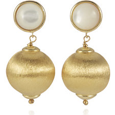 Bella Vita 18ct Gold Plated Satin Finish Drop Earrings Bronze