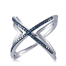 0.25ct Diamond Crossover Ring Sterling Silver