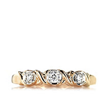 0.15ct Diamond 3 Stone Kiss Ring 9ct Rose Gold - 664840
