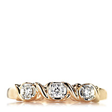 0.15ct Diamond 3 Stone Kiss Ring 9ct Rose Gold