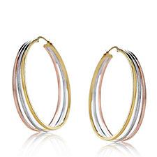 9ct Gold Tri-Colour Hoop Earrings