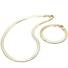 Bella Vita 18ct Gold Plated 45cm Necklace & 19cm Bracelet Set Bronze