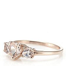 628641 - 1ct Morganite Heart Cut Trilogy Ring 9ct Rose Gold