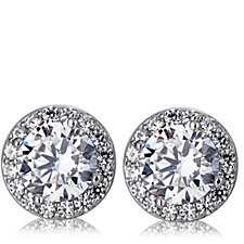 Epiphany Platinum Clad Diamonique 1.7ct tw Stud Earrings Sterling Silver