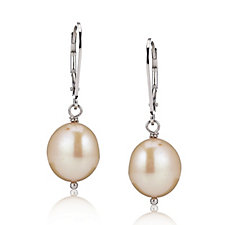 Honora 10-11mm Rice Baroque Pearl Leverback Earrings Sterling Silver