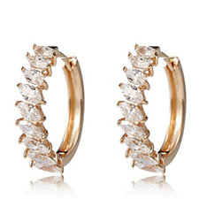 Diamonique 2.7ct tw Marquise Huggie Earrings Rose Gold Plated Sterling Silver
