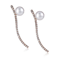664842 - Honora 5.5-6mm Cultured Pearl White Topaz Earrings Sterling Silver